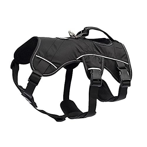 Arnés para perros Large Dog Harness Nylon Reflective Pet Harness Adjustable No Pull Dogs Vest Arnés para gatos (Color : Black, Size : Medium)
