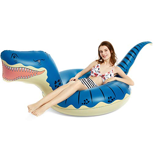 Jasonwell Inflatable Dinosaur Pool Float Tube for Boys Girls T-Rex Floatie Summer Beach Swimming Pool Inflatables T-Rex Ride on Party Pool Toys Raft Lounge Kids Adults Tyrannosaurus Rex Dinosaur Toys