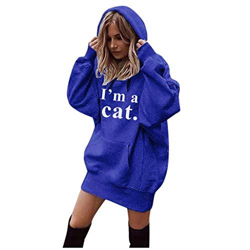 Sweats Longue à Capuche Femmes,SANFASHON Hoodies Imprime Mode Chat Lettre Vêtements Pull Manteau Hooded Grand Taille Sweat à Capuche