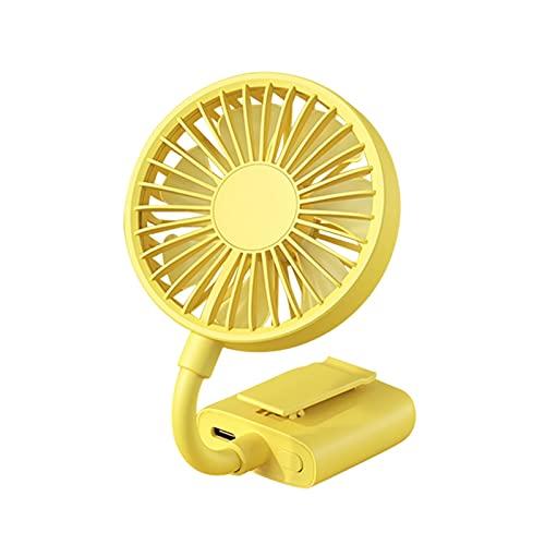 BMSYTY Ventilador de Mano Ventilador de Clip-on portátil, Mini USB Recargable, Silent Desktop, Carrito de Vivienda Enfriador de Aire de Viaje al Aire Libre (Color : Yellow)
