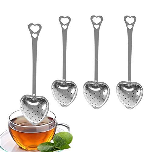 QoFina Herz Teesieb Teefilter Teeei Löffel, Edelstahl Teesieb Tee-Ei Tasse Führungsholm Tee Infuser mit Herz Griff für Teeblaetter Spice Siebkorb