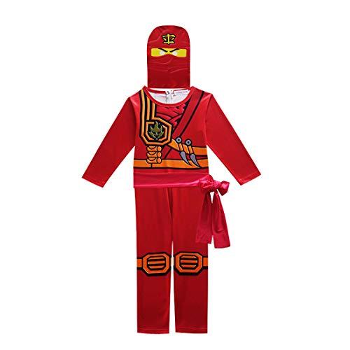 Thombase Ninja Krieger Verkleidung Outfit Kostüm für Jungen Kinder Cosplay und Dress Up Party Clotrhes mit Waffe Gr. 120 cm, rot