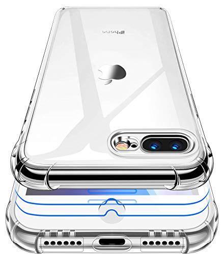 Garegce Coque iPhone 7 Plus, Coque iPhone 8 Plus Transparente + 2 Pack Verre trempé Protecteur, Housse Silicone TPU Antichoc Bumper Protection Cover iPhone 7 Plus/8 Plus- 5.5 Pouces- Transparent