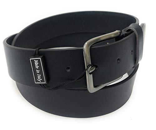 Cinture Dautore, Cintura da uomo sportiva in vero cuoio h40. colore : Nero; Made in Italy