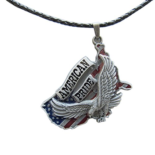 JEAN'S FRIEND New Vintage Eagle American Pride Metal Charm Pendant Anhänger Leather Necklace Ketten