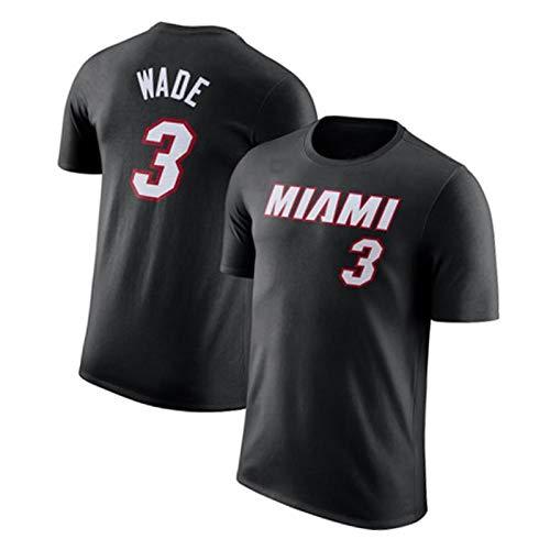 Camiseta de Manga Corta # 3 Wade Baloncesto Camiseta de Manga Corta para Deportes al Aire Libre Secado rápido (S-3XL) black1-L