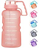 MEITAGIE 1 Gallon/128oz Motivational Water Bottle with Time Marker& Removable Straw,BPA Free Tritan Leakproof Drinking Bottle with Carrying Handle for Gym,Fitness and Outdoor Sports