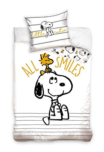 Snoopy Peanuts SNO205004 - Juego de cama (funda de edredón de 140 x 200 cm y funda de almohada de...
