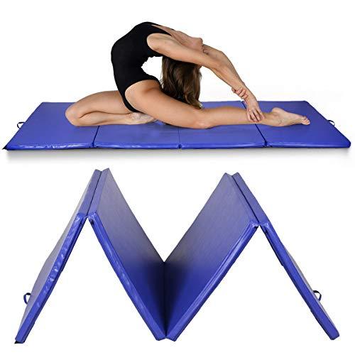 RELAX4LIFE Weichbodenmatte klappbar, tragbare Turnmatte aus PU und EPE-Schaum, rutschfeste Yogamatte & Klappmatte & Sportmatte für Heimgymnastik Fitnessstudio, 300 x 120 x 5 cm (Blau)