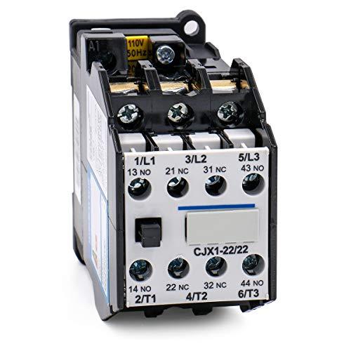 Baomain AC Contactor CJX1-22/22 110V 50Hz 2NO 2NC Motor Power Contactor 35mm DIN Rail Mount