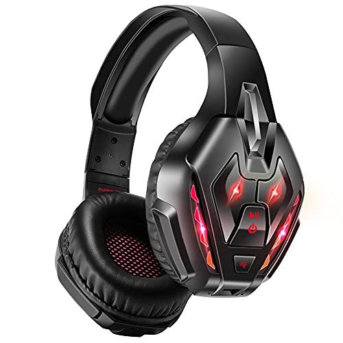 PHOINIKAS Auriculares para videojuegos para PS5, PS4, PC, Xbox One con sonido 7.1, auriculares inalámbricos Bluetooth para teléfono, auriculares sobre la oreja con micrófono...
