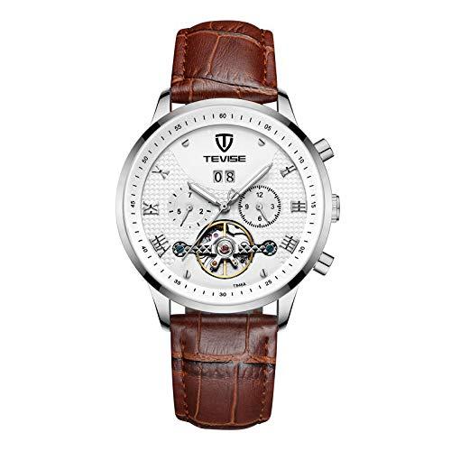 YiLuFanHua Hombre Relojes Casual Negocios Cronografo Mpermeable Banda De Cuero Analogicos Fecha De Pulsera Regalo Elegante,Blanco