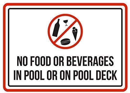 "DKISEE Blechschild aus Aluminium mit Aufschrift ""No Food or Beverages in Pool Or On Pool Deck Spa, 25,4 x 35,6 cm"