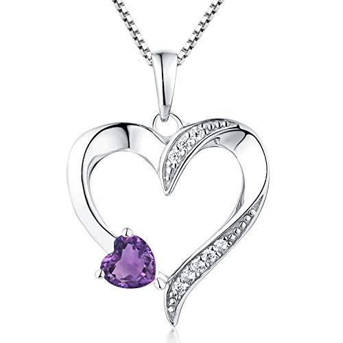 YL Women's Amethyst Necklace 925 Sterling Silver Heart Pendant Necklace Cubic Zirconia Purple...