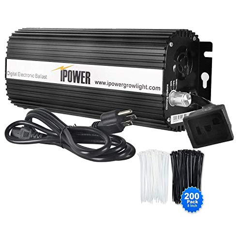 iPower Horticulture 1000 Watt Digital Dimmable Electronic Ballast for Hydroponic HPS MH Grow Light with 200pcs Cable Tie of 8', 1000W