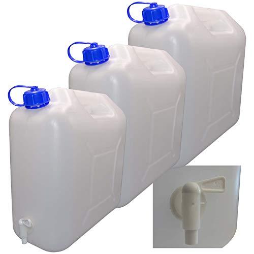 3 x 20 L Kanister mit Deckel, Zapfhahn und Ausgießer, natur Trinkwasser