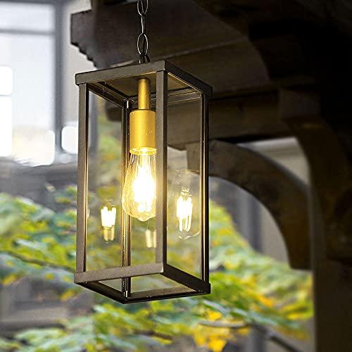 JIANAND Iluminación exterior elegante Lámpara suspendida Cubierta de vidrio a prueba de lluvia Linterna Lámpara colgante de techo E27 Lámpara colgante impermeable Kit antioxidante Accesorio de ilumina
