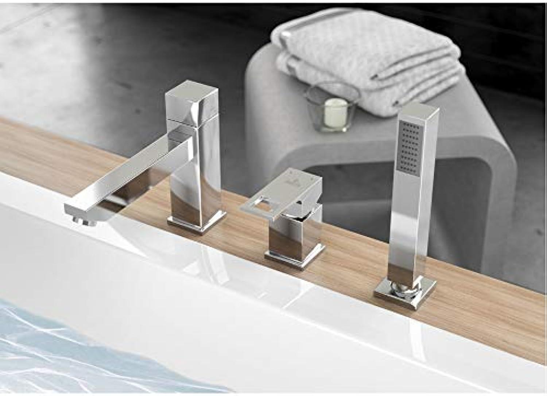 Anemon 3 Loch Wannenarmatur inkl. Handbrause Chrom, Designer Wasserhahn, Wandbatterie, Armaturen Bad, Badezimmer, Einhebelmischer, Mischbatterie, Wasserhahn Armatur