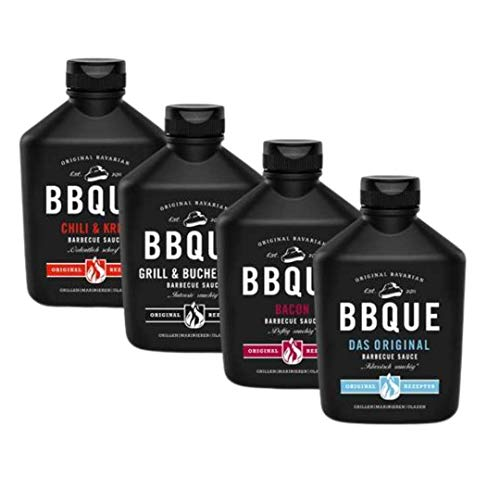 BBQUE Baconlicious 4er Vorteilspack (Original, Grill & Buchenholz, Chili & Kren, Bacon) 4x 400ml Barbecue-Saucen
