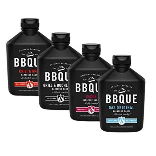 BBQUE Baconlicious 4er Vorteilspack (Original, Grill & Buchenholz, Chili & Kren, Bacon) 4x 400ml Barbecue-Saucen