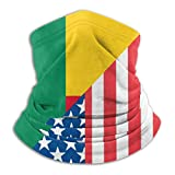 Unisex American and Benin Flag Microfiber Neck Gaiter Head Wrap for Dust and Sun Protection Soft Face Mask for Men