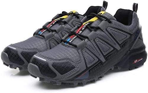 KUXUAN Zapatillas de Ciclismo para Hombre Zapatillas de Bicicleta de Carretera Al Aire Libre Zapatillas de Trekking para Senderos Zapatillas de Senderismo Ligeras,Grey-44EU