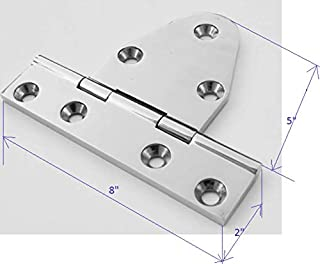 Marine Part Depot Extra Heavy Duty Stainless Strap Tee Hinge with Thickness 3/8