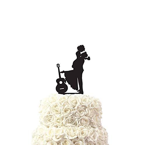 Cheyan Silhouette Man en Vrouw met Akoestische Gitaar voor Muziek Liefhebbers Mogelijke Bruiloft Cake Toppers Letters Grappige Bruiloft Jubileum Cake Topper Party Event Decoraties