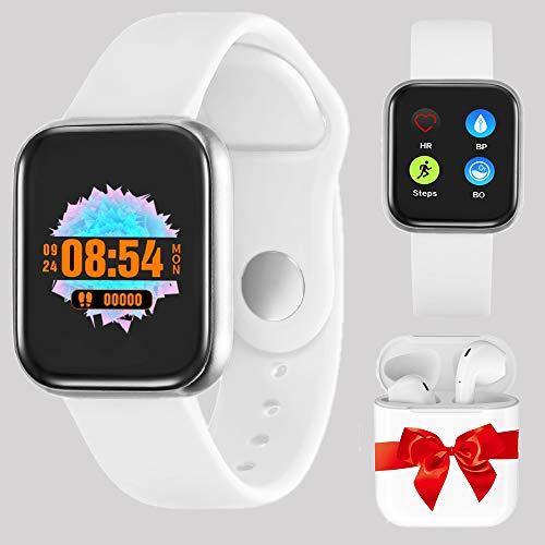 Smartwatch Uomo Donna Orologio Fitness, Activity Tracker Cardiofrequenzimetro da Polso Calorie Contapassi Bluetooth Impermeabile Schermo a Colori per Android IOS (Bianco)