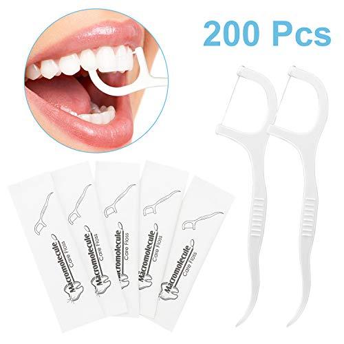 Zahnseide Sticks, 200 Stück Dental Floss Zahnstocher Stick mit kunststoff Griff, Zahnpflege Interdental Flosser mit Zahnseidenhalter, Zahnseidensticks Zahnreiniger Sticks