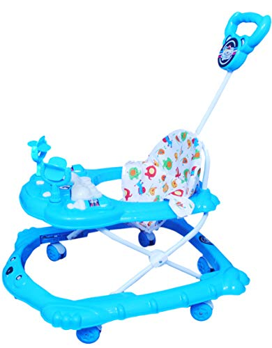 ODELEE Musical Baby Walker with Adjustable Height with Light and Parental Handle (Blue,Pack of 1)