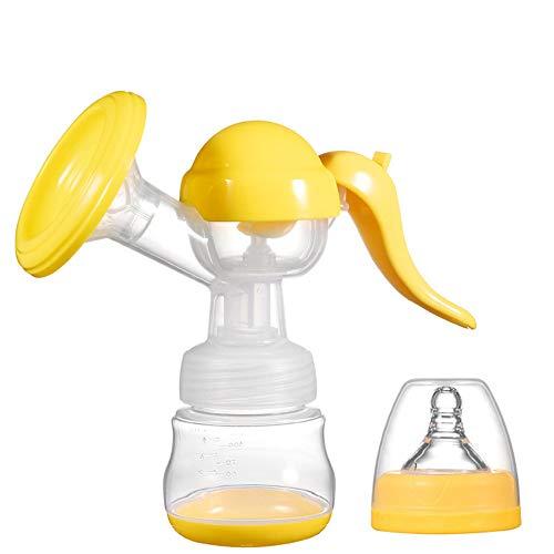HJJGRASS Brustpumpe Brustvergrößerung Stillen Absaug- Handmilchpumpe 150Ml Milch Saver Einhand-Milchpumpe Mit Nippel Und Deckel,Gelb