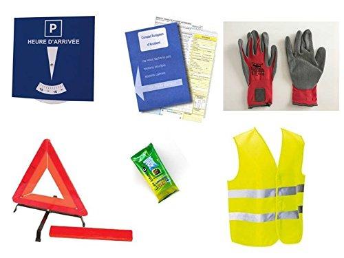Kit complet sécurité auto 6 pièces : 1 Ethylotest NF + 1 gilet jaune + 1 triangle de signalisation + 1 solide paire de gants + 1 constat amiable + 1 disque de stationnement