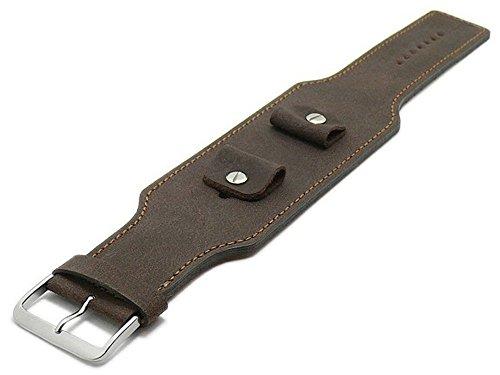 Meyhofer Uhrband Windhoek 20-22-24mm Dunkelbraun Leder Antik-Look braune Naht MyFcslc373/20-24mm/dbraun/brN