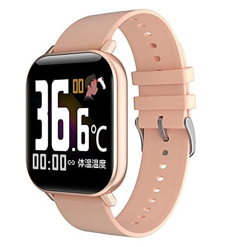 QFSLR Smartwatch,Reloj Inteligente Impermeable IP64, con Monitor De Frecuencia Cardíaca Monitor De Presión Arterial Monitoreo De Oxígeno En Sangre Control De Música Hombres Y Mujeres,Rosado