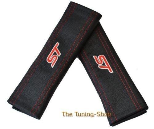 2x Sicherheitsgurt Bezüge Pads Schwarz Schultertasche Leder Rot ST Edition für Ford