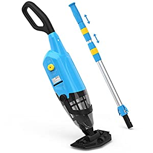 Strong Suction 35-38L/min- The handheld pool vacuum has big vacuum head with two big side bristles head, its' design makes it easy to clean the corners of the pool, Ideal for you Clean-up Leaves, Dirt and Sand & Silt, also use it without vacuum head ...
