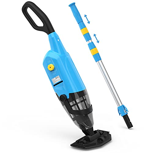"""OT QOMOTOP Handheld Pool Vacuum Rechargeable, IPX8 Waterproof, 6000 mAH for 60 mins Work Time, Pool Cleaner with 69"""" Extendable Pole, Ideal for Hot Tub, Spa, Small In-Ground/Above Ground Pool"""