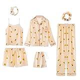 LangfengEU Conjunto de Pijamas de satén de Seda de 7 Piezas para Mujer, Conjunto de Pijamas, Ropa de Dormir, Pijama, Traje de Dormir para Mujer, Ropa de Dormir de Moda Vintage