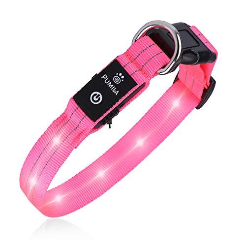 PcEoTllar LED Hundehalsband Leuchthalsband Wasserdicht Leuchten Hundehalsband USB Wiederaufladbare Blinkende Hundehalsbänder Einstellbar Super Bright für Nacht Dunkel - Rosa - XS