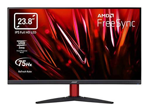 "Acer Nitro KG242Ybmiix Monitor Gaming per PC 23,8"", Display IPS FullHD (1920x1080) 75 Hz, 1ms, 16:9, FreeSync, VGA, HDMI (1.4), Lum 250 cd/m2, ZeroFrame, Audio In, Speaker Integrati, Cavo HDMI Incluso"