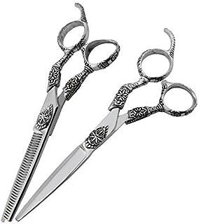 Plata 6 pulgadas tijeras para el peluquero, peluquería especial tijeras de peluquería tijera tijeras planas + tijeras de diente traje auténtico profesional,Silver