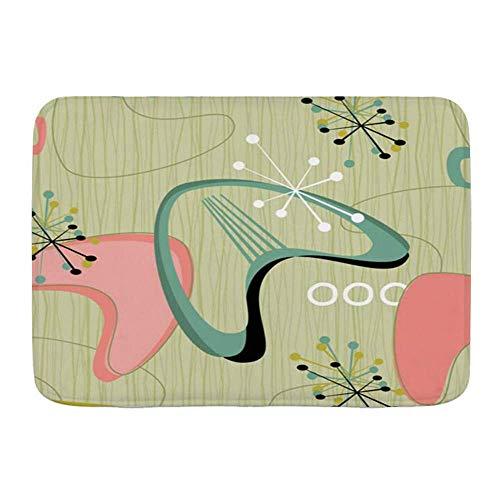 AoLismini Badmatta, stil retro barkduk tyg tyg vintage väckelse design stjärnor boomerangs röda möbler stil, halkfri absorberande ultramjuka badrum Dr mattor