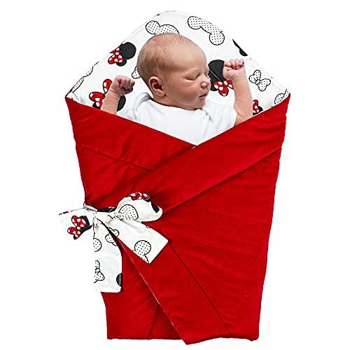 Saco de Dormir para bebé de - Manta de niño pequeño de Dormir, para durante todo el año, Saco reversible para envolver (Algodón con Ratón - Terciopelo en Rojo)