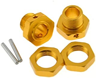 2 SET Tires Adapter 17mm Gold Aluminum Wheel Hex Hubs with Pins For 1/8 Hyper Buggy HSP Spare Parts