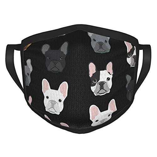 Cute French Bulldog Outdoor Mask, Anti-Dust Suitable Adult Men Women Bandana Black