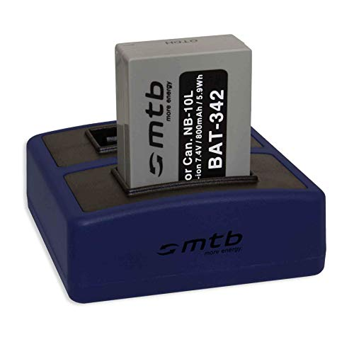 Batería + Cargador Doble Compact (USB) para NB-10L / Canon PowerShot G15, G16, G1 X, G3 X, SX40 HS, SX50 HS, SX60 HS (Cable USB Micro Incluido)