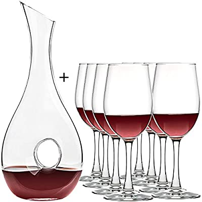UMI UMIZILI Lead-Free Glass Red Wine Decanter with Wine Glasses