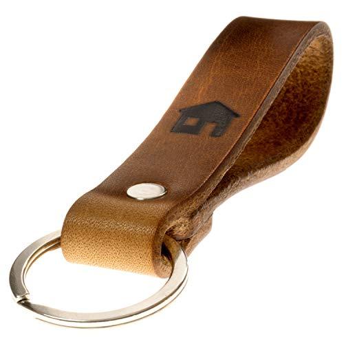 LIEBHARDT nachhaltig Geschenk aus pflanzlich gegerbtem Leder Schlüsselanhänger mit Spruch für deinen Lieblingsmensch ob Frau oder Mann Handmade in Germany (Haus, für zuhause)
