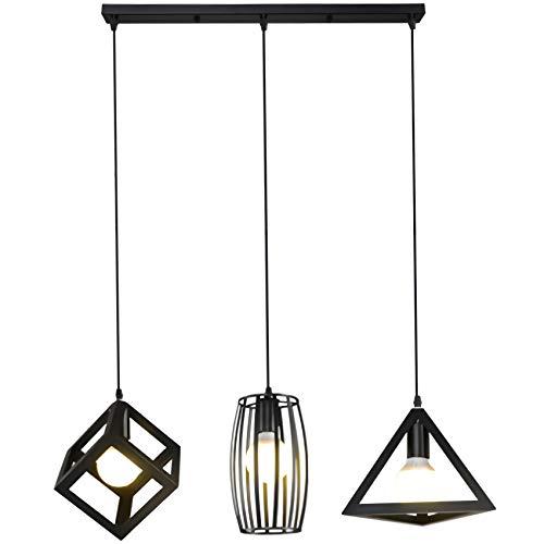 Lámpara de techo colgante negro vintage, lámpara de techo de 3 focos, lámpara de techo retro en diseño industrial con casquillo E27, lámpara colgante de acero de 30 cm de diámetro